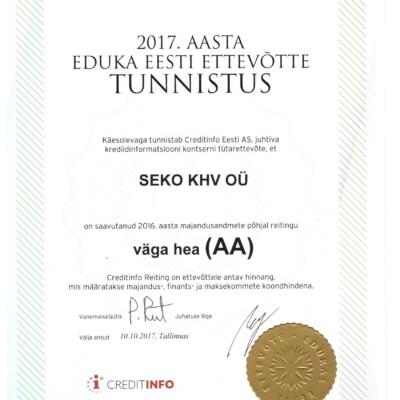 2017. aasta eduka eesti ettevõtte tunnistus